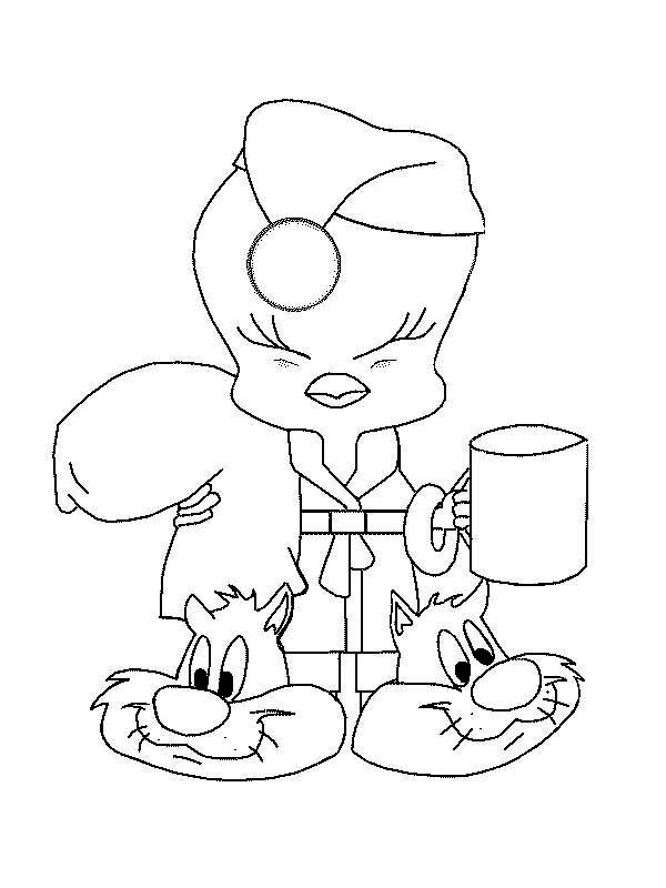 Tweety Bird, : Tweety Bird Going to Bed Coloring Page