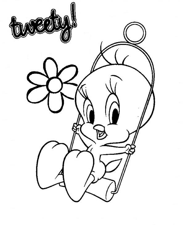 Tweety Bird, : Tweety Bird Swing Coloring Page