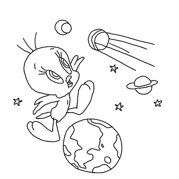Tweety Bird, : Tweety Bird and Planets Coloring Page