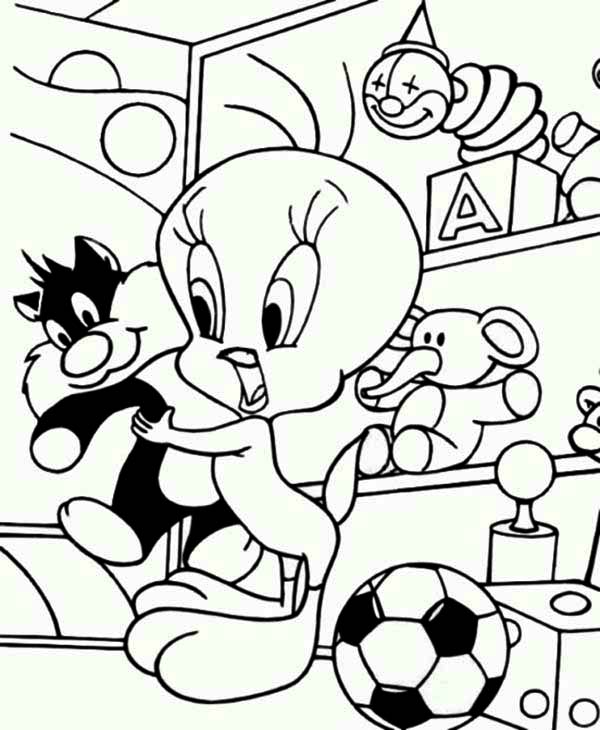 Tweety Bird, : Tweety Bird and Sylvester Doll Coloring Page