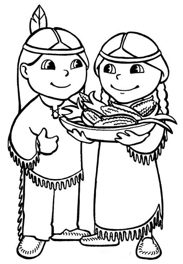 Native American, : Two Cute Native American Serving Food Coloring Page