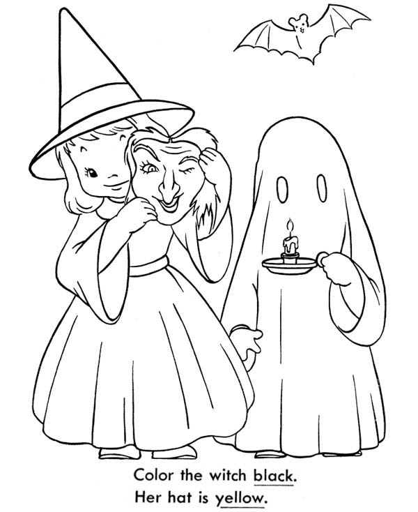 Ghost, : Two Little Girl Playing Ghost Coloring Page