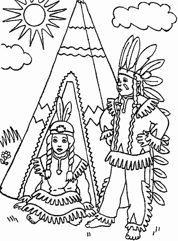 Native American, : Two Native American in Front of Teepee Coloring Page