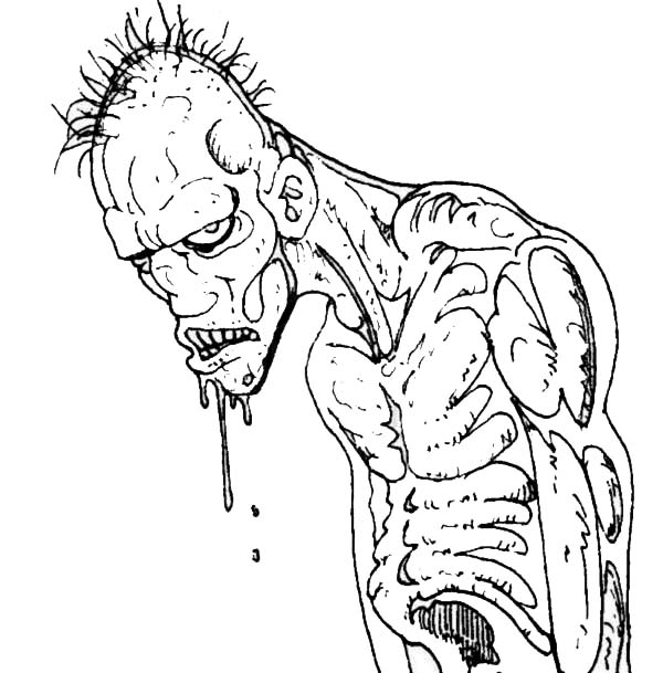 Ugly Zombie Coloring Page : Kids Play Color