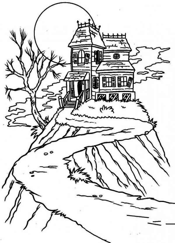 Haunted House, : Up in the Hill Haunted House Coloring Page