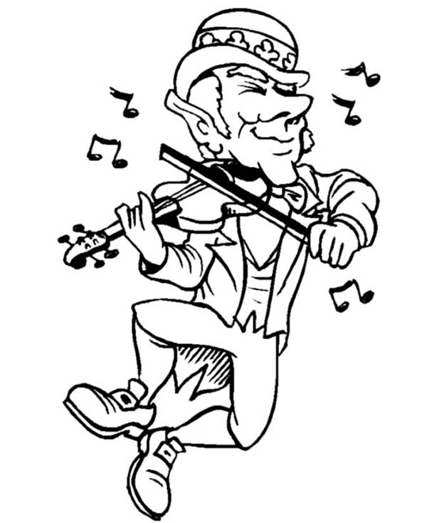 Leprechaun, : Very Happy Leprechaun Playing Violin on St Patricks Day Coloring Page