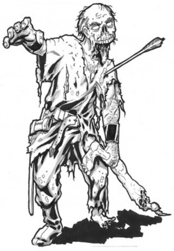 Zombie, : War Warrior Zombie Coloring Page