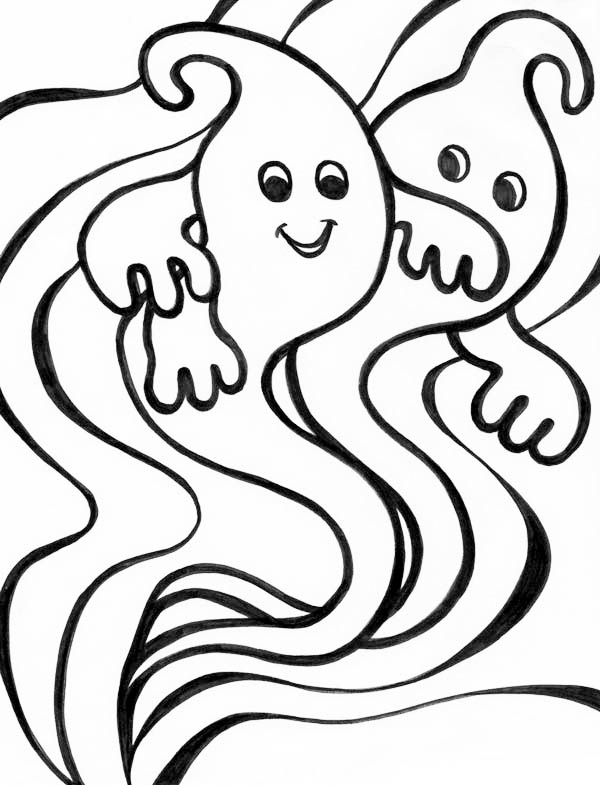 Ghost, : Weird Ghost Coloring Page