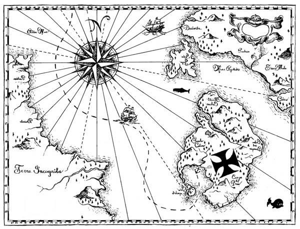 Treasure Map, : World Treasure Map Coloring Page