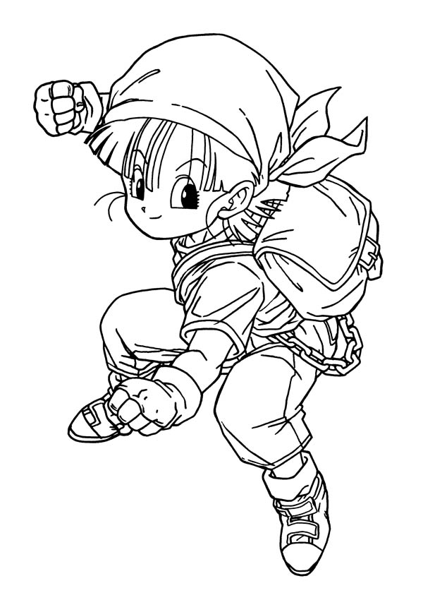 Dragon Ball Z, : Young Bulma in Dragon Ball Z Coloring Page