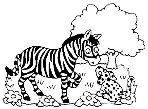 Zebra, : Zebra Talking to Dog Coloring Page