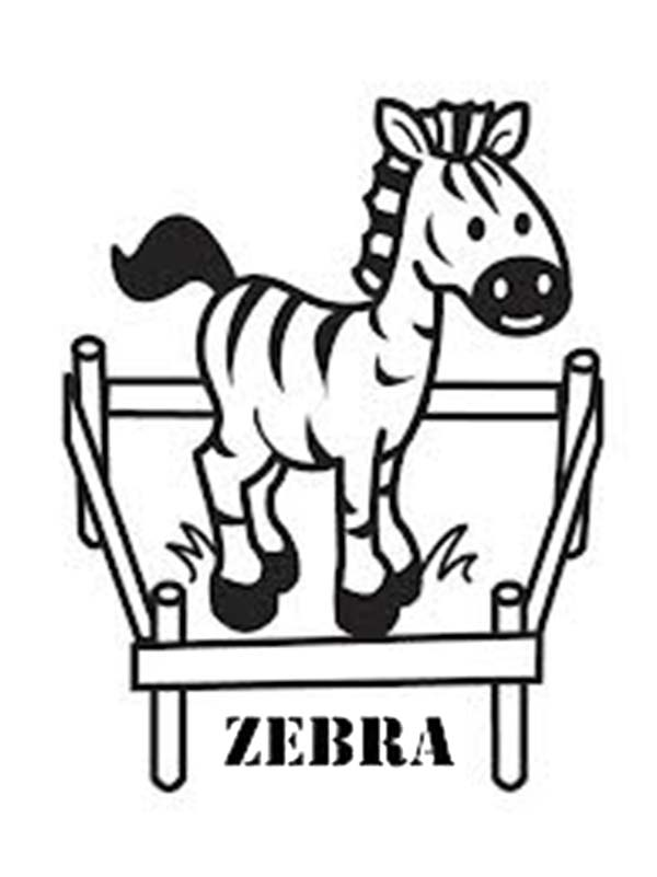 Zebra, : Zebra in a Cage Coloring Page