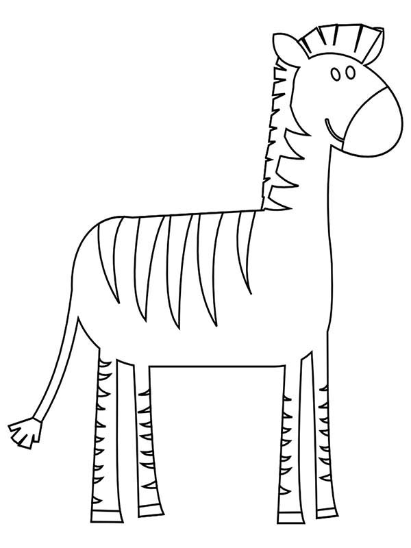 Zebra, : Zebra with Long Feet Coloring Page