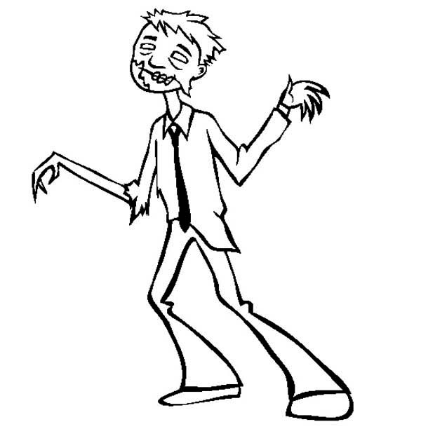 Zombie, : Zombie Coloring Page