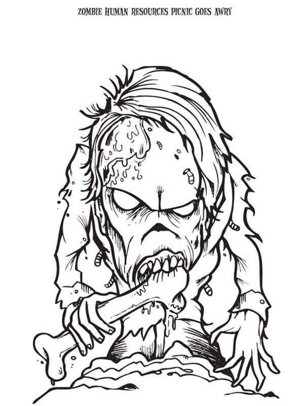 Zombie, : Zombie Eating Bone Coloring Page