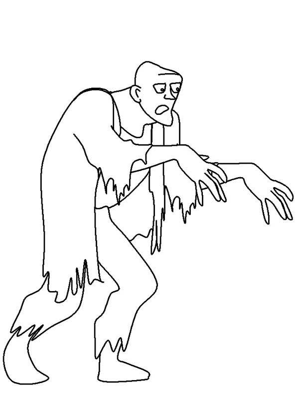 Zombie, : Zombie Looking for Human Coloring Page