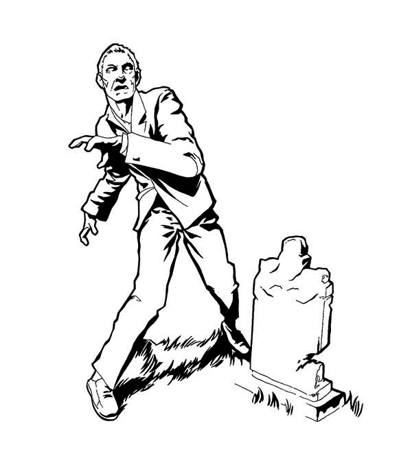 Zombie, : Zombie in Cemetary Coloring Page