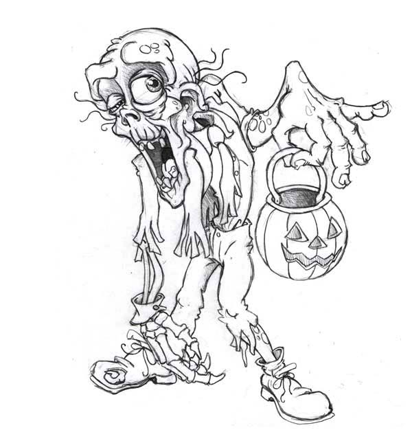 Zombie, : Zombie with Halloween Lantern Coloring Page