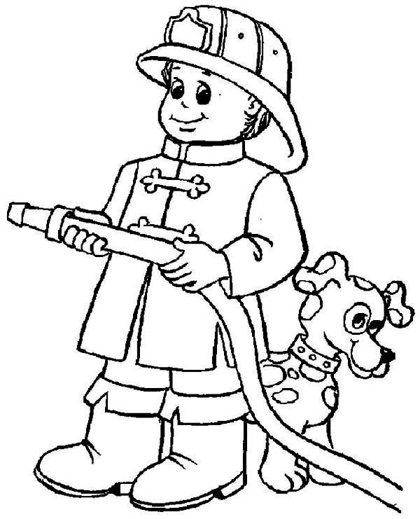 Fireman, : A Dog Hide Behind Fireman Coloring Page