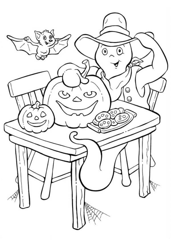Funschool Halloween, : A Ghost with Bat and Pumpkin Cookies in Funschool Halloween Coloring Page