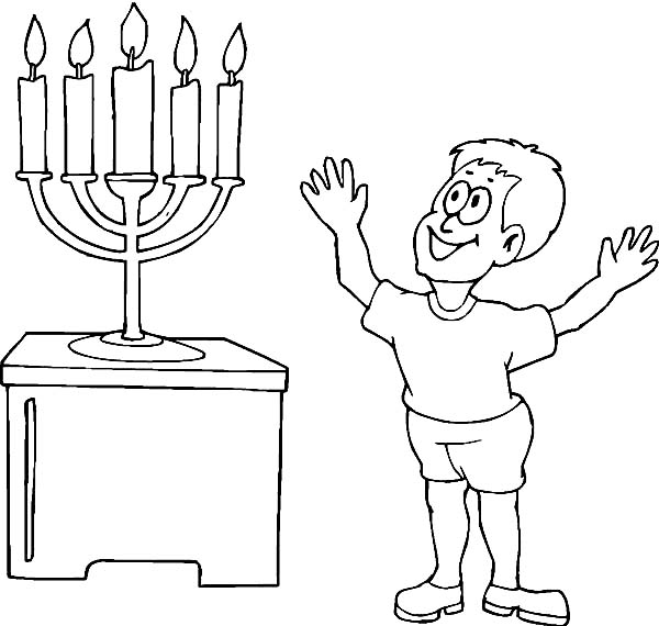 Chanukah, : A Happy Boy Seeing Chanukah Menorah Coloring Page