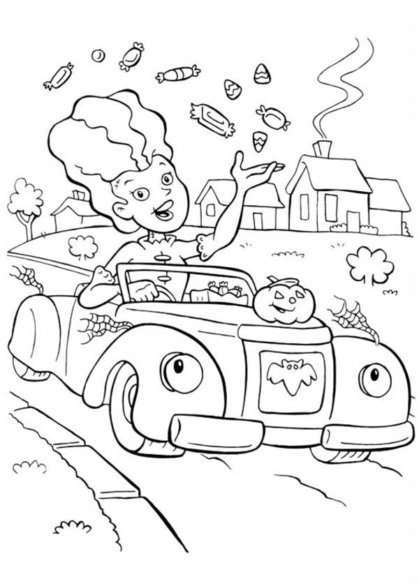 Funschool Halloween, : A Lady Give Out a Lot of Candy in Funschool Halloween Coloring Page