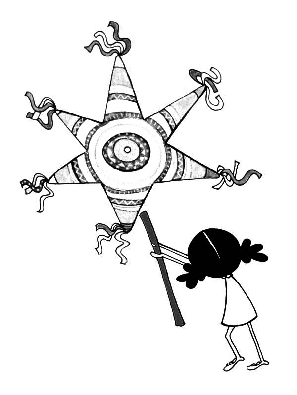 Pinata, : A Little Girl with Star Pinata Coloring Page