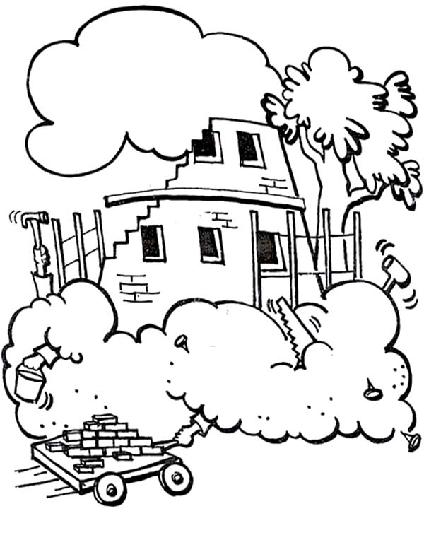 Tower of Babel, : A Lot of Brick to Build the Tower of Babel Coloring Page