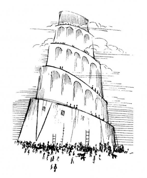 Tower of Babel, : A Lot of Man Building Tower of Babel Coloring Page
