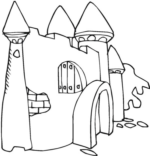 Medieval Castle, : Abandoned Medieval Castle Coloring Page