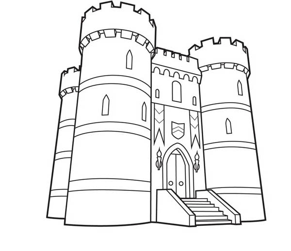 Medieval Castle, : Age of Empire Medieval Castle Coloring Page