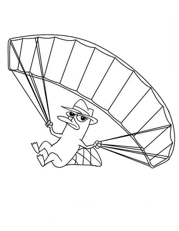 Phineas and Ferb, : Agent Perry the Platypus Fly with Parachute in Phineas and Ferb Coloring Page