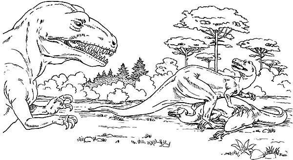 Allosaurus, : Allosaurus Eat Camptosaurus Coloring Page