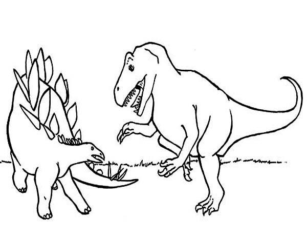 Allosaurus, : Allosaurus Fighting Coloring Page