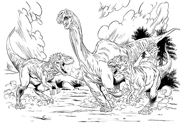 Allosaurus, : Allosaurus Hunting for Food Coloring Page