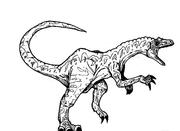 Allosaurus Screaming Coloring Page : Kids Play Color