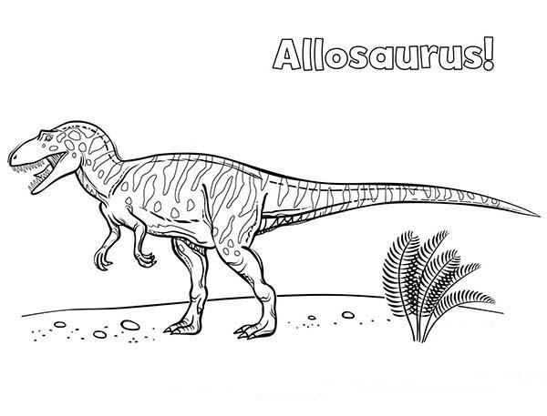 Allosaurus, : Allosaurus Wander Around Coloring Page