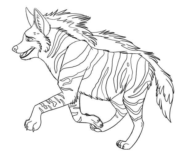 Hyena, : Amazing Animal Hyena Coloring Page