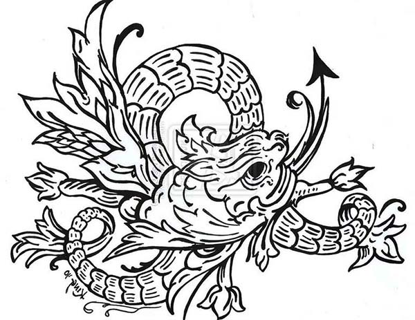 Sea Monster, : Amazing Drawing of Sea Monster Coloring Page