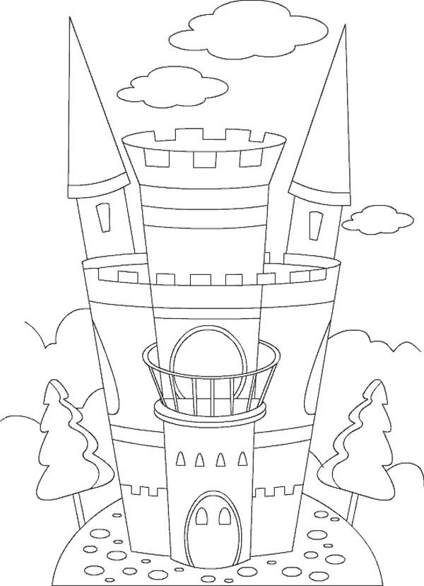 Medieval Castle, : Amazing Medieval Castle Coloring Page