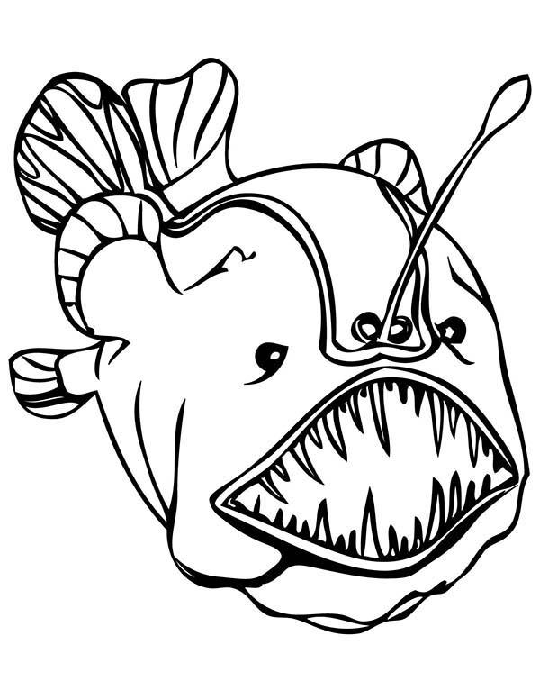 Anglerfish Sea Monster Coloring Page : Kids Play Color