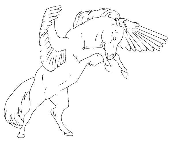 Pegasus, : Angry Pegasus Coloring Page