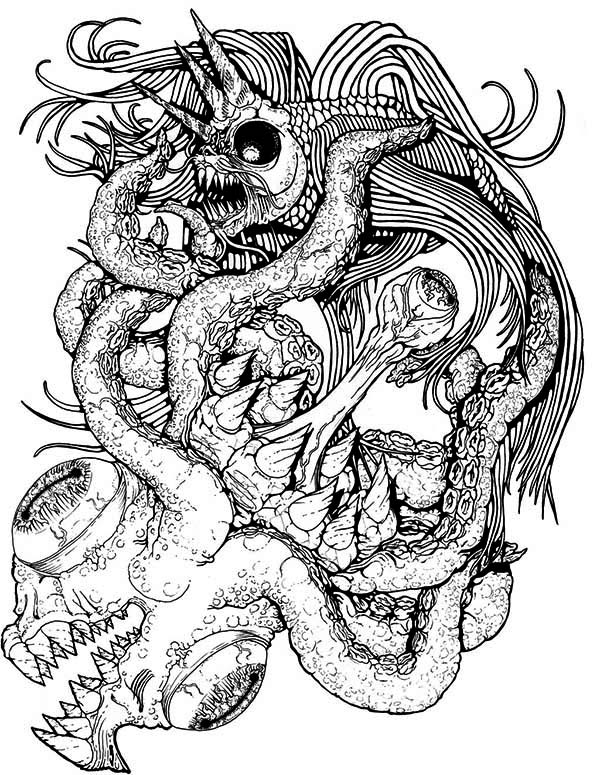 Sea Monster, : Awesome Drawing of Sea Monster Coloring Page