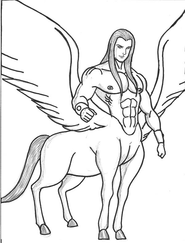 Centaur, : Awesome Drawing of a Centaur Coloring Page