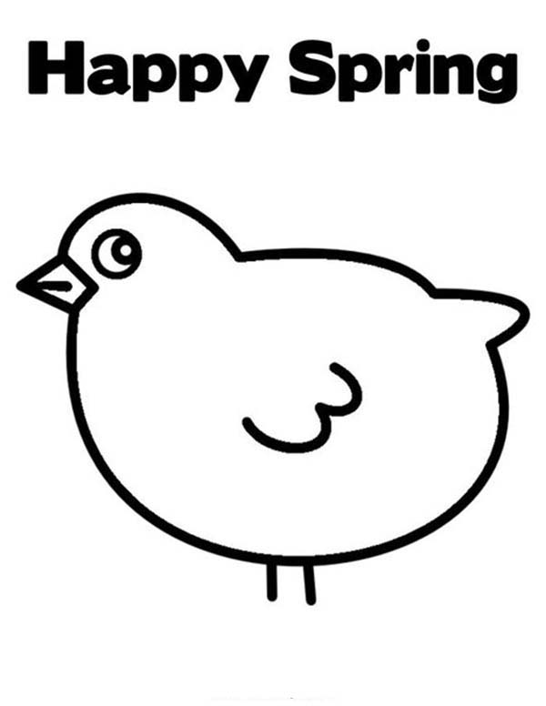 Baby Chick, : Baby Chick Happy Spring Coloring Page