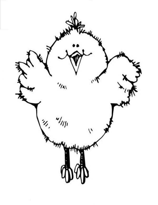 Baby Chick, : Baby Chick Jumping High Coloring Page