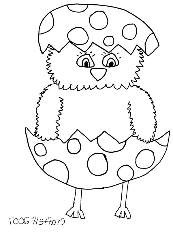 Baby Chick, : Baby Chick in Easter Egg Coloring Page