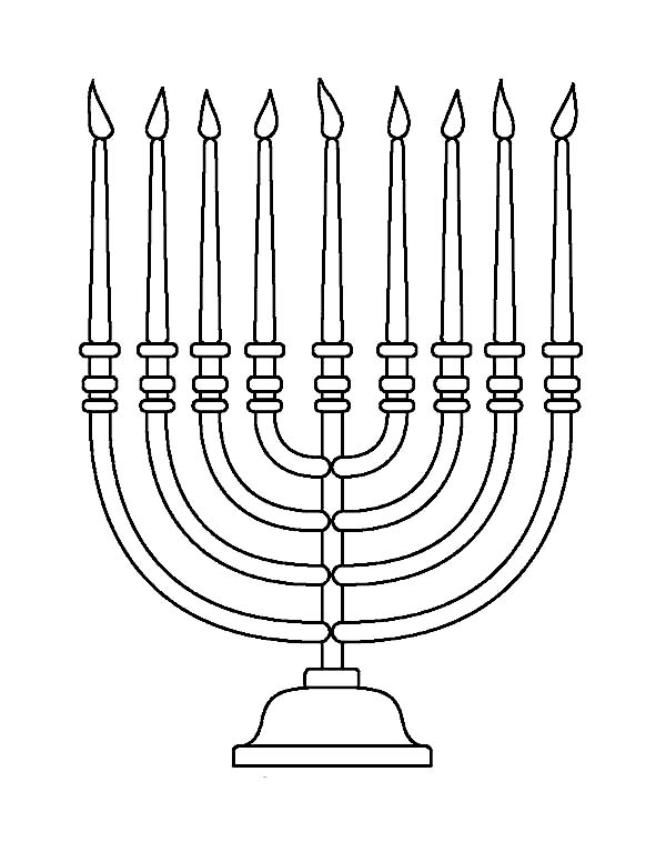 Menorah, : Beautiful Menorah Coloring Page