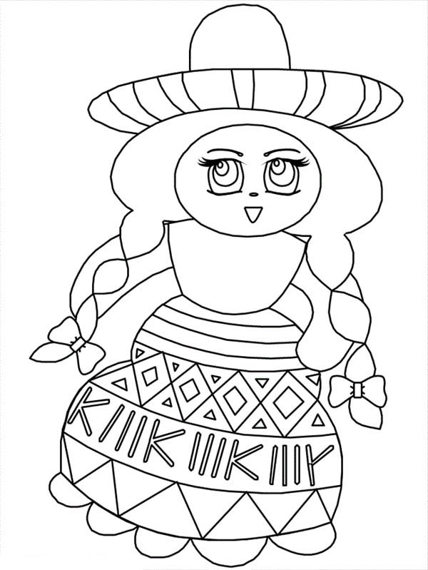 Mexican Fiesta, : Beautiful Mexican Girl at Mexican Fiesta Coloring Page