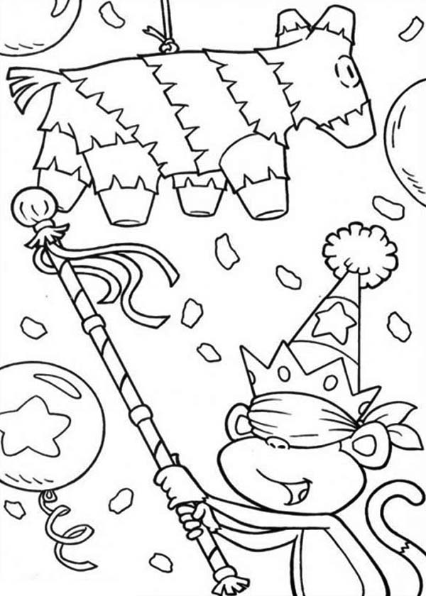 Pinata, : Boots from Dora the Explorer Breaking Pinata Coloring Page